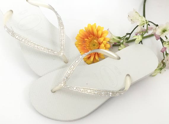 Custom White Havaianas Slim Flip Flops w/ Ivory Cream Crystal Moonlight Swarovski Rhinestone jewel Glass Slipper Bridal Wedding Shoes Thong