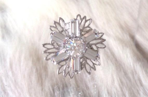 Silver Fused Floral Snowflake Filigree Earrings Swarovski Crystal AB Clear Lt Blue Rhinestone 18mm Titanium Post Minimalist Stud Ladies Gift