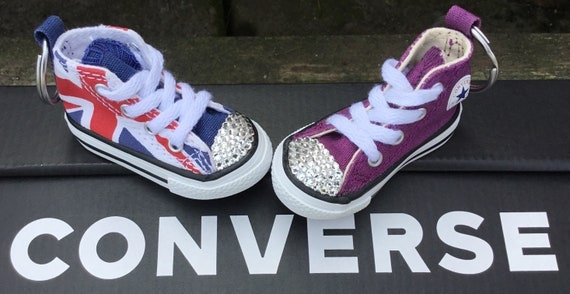 Converse Keychain Custom Kick Bling w/ Swarovski Crystal Rhinestone Jewel Zipper pull Purse bag iPhone FOB Lanyard Charm teen gift accessory