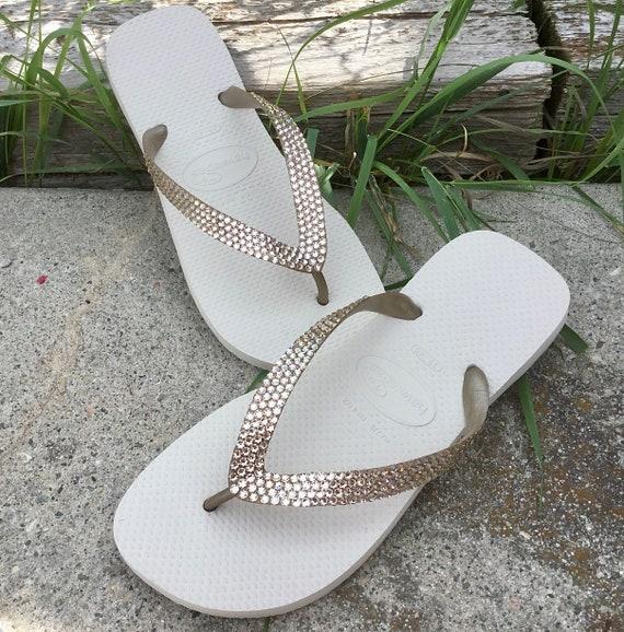 Beige Crystal Havaianas Flip Flops Champagne Light Silk Ivory Cream Gold Tan Custom w/ Swarovski Bling Rhinestone Wedding Prom Sandals Shoes