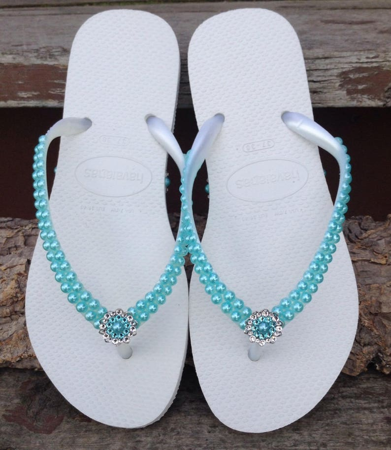 f2ae82fa4a1 Aqua Blue Pearl Havaianas Slim flat flip flops Turquoise Sky