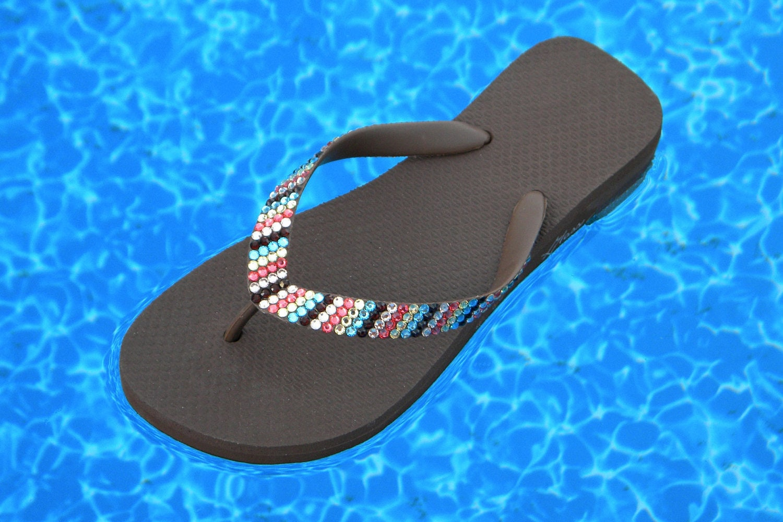 737d0abe5 Brown Flip Flops Custom Crystal Havaianas flat or Cariris Wedge Heel Rainbow  Multi Color Chocolate w  Swarovski Rhinestone Bling Beach Shoes