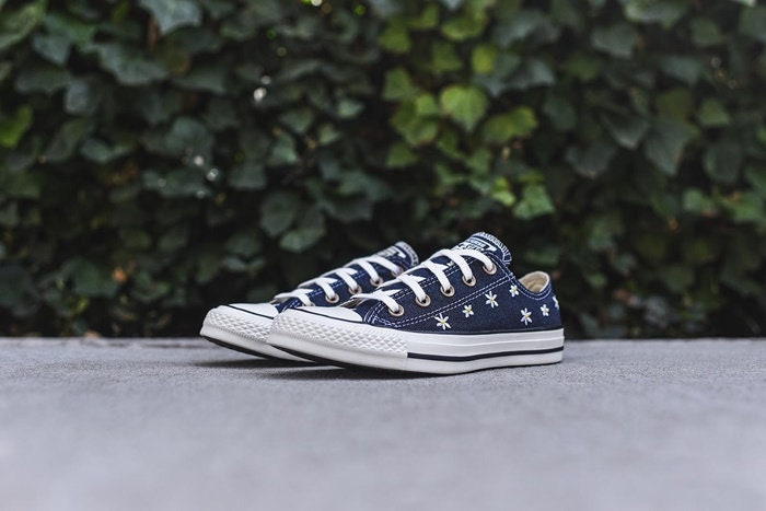 e1d2e0710732 Navy Blue Converse Jean Denim Custom Wedding Daisy Floral Low Top w ...