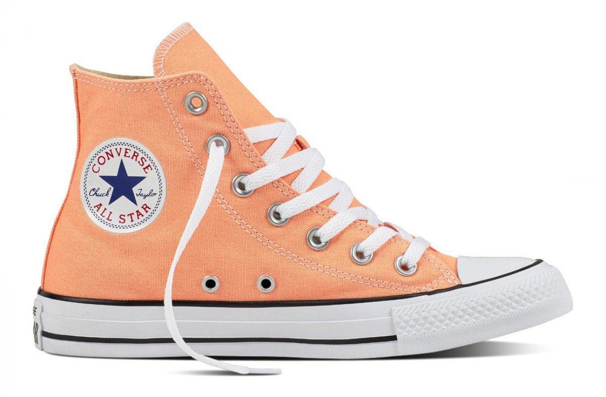 Peach Converse High Top Sunset Apricot w  Swarovski Crystal Bling Wedding  Chuck Taylor Rhinestones All Star Bridal Girl Bride Sneakers Shoes 73b597bb1