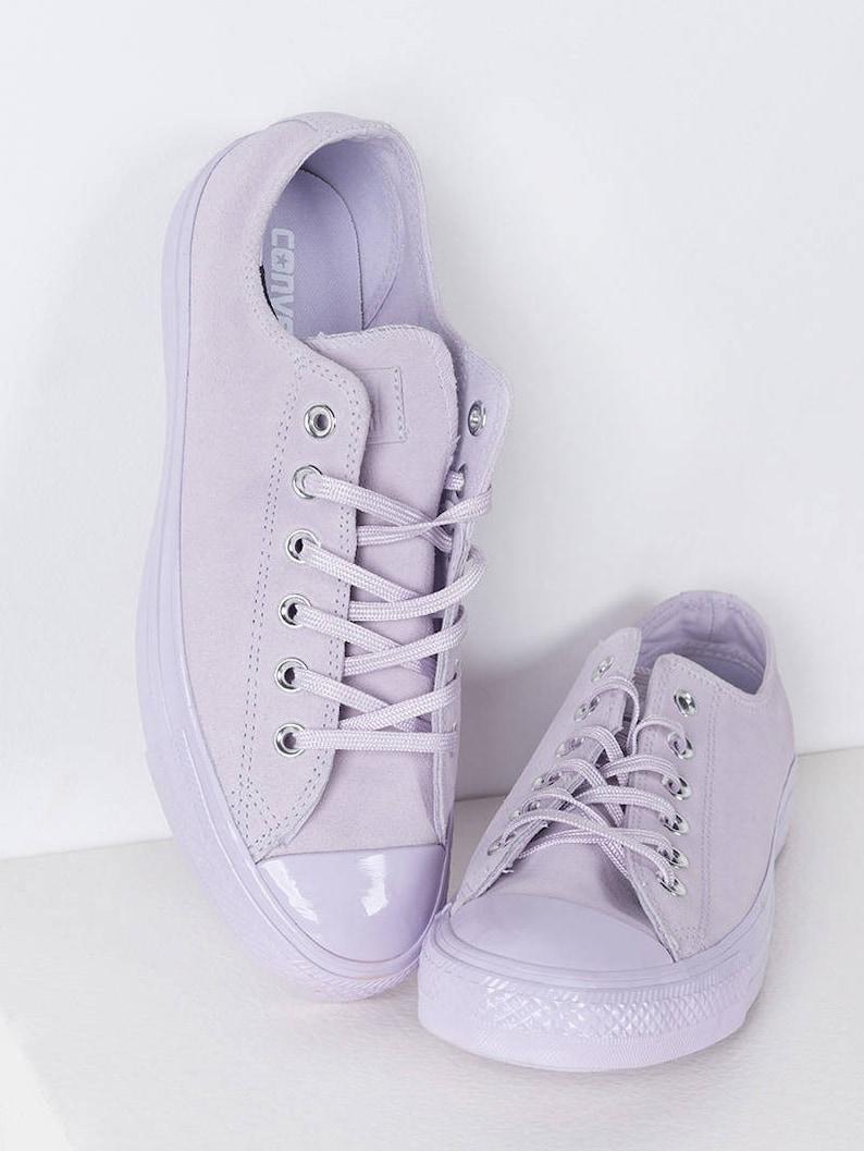 18e5770ae483 Purple Converse Lilac Fuchsia Lavender Suede Leather Low Chuck