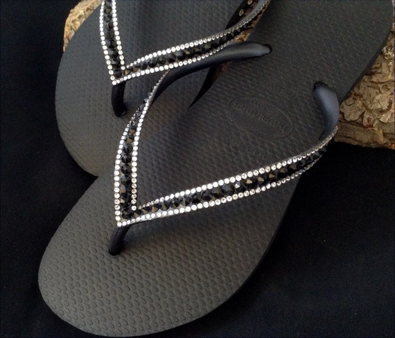 407b6881cb37 ... Shoes  139.99 Black Flip Flops Custom Jewel Havaianas Slim Jet w  Swarovski  Bling Crystal Glass Slipper Rhinestone
