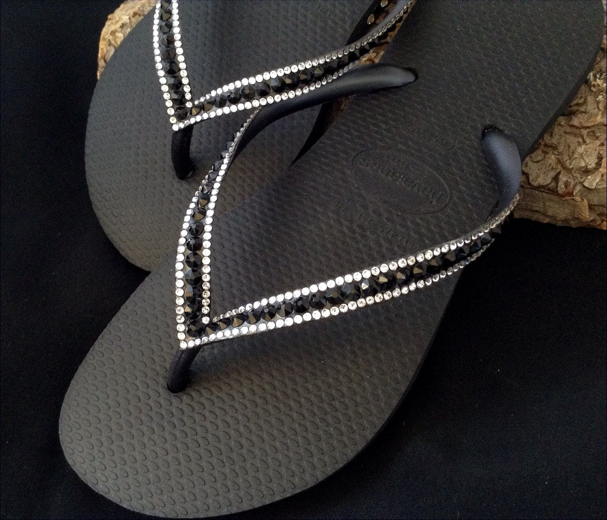 c8d7e0266 Black Flip Flops Custom Jewel Havaianas Slim Jet w  Swarovski Bling Crystal  Glass Slipper Rhinestone Wedding Sandals Beach Bride Thong Shoes