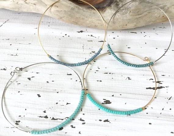 Hoop Earrings 2 inch Shades of Turquoise Blue Wire French Hook Minimalist Hypo Titanium Silver Stainless Gold Seed Bead Ladies Jewelry Gift