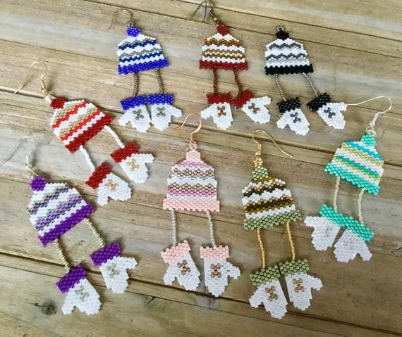 Tree Ornament Winter Hat Mitten Toque Beanie Seed Bead Earrings Rainbow Gold Silver Hypo Titanium Hooks Drop Winter Decoration Jewelry Gifts