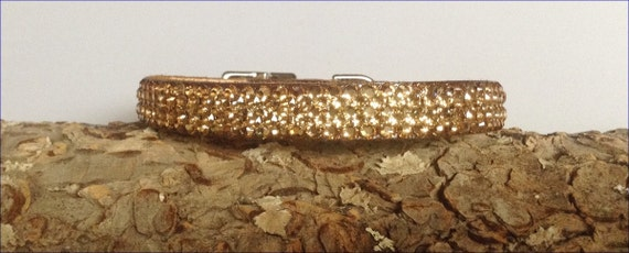 "Gold Pet Collar 10-12"" Leather 3D Super Bling Chocolate Exclusive custom Ice w/ Swarovski Crystal Rhinestones Cat Dog or Breakaway Safety"