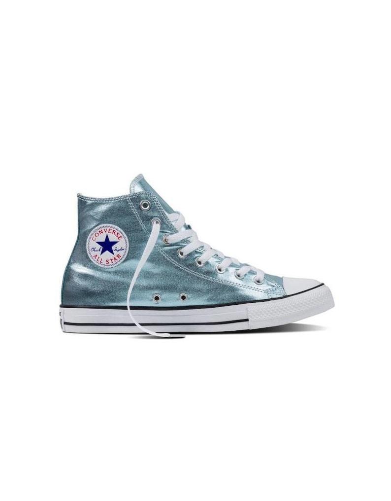 503a98108079 Mint Green Blue Ice Converse High Top Metallic Canvas w