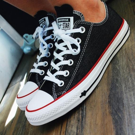 Black Denim Converse Gray Love Heart Stonewash Low Top Custom w/ Swarovski Crystal Chuck Taylor Rhinestone All Star Bling Sneakers Shoes