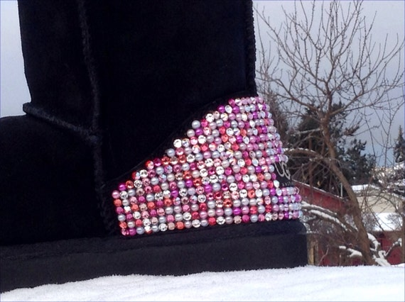 Pink Black Custom Tall Boots Crystal Pearl Mix Winter w/ Swarovski Candy Cane Multicolor Heels Rhinestone Bling UGG Sheepswool or Suede Shoe