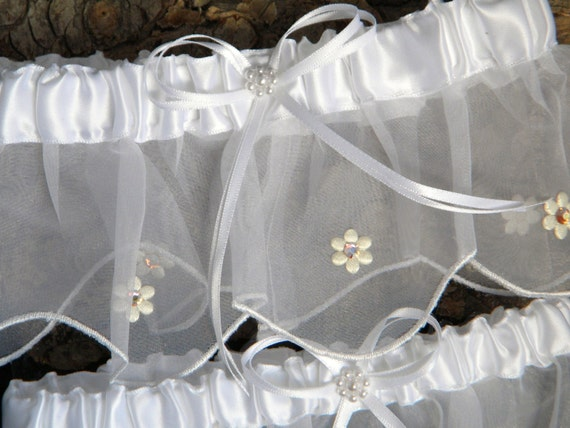 Custom Rhinestone Bride Wedding Garter Belt Silk Daisy White or Ivory Bridal Toss w/ Swarovski Crystal Jewels Traditional Shower Gift Set