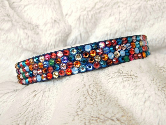 "Custom Leather Crystal Rhinestone Pet Collar Magic Carpet w/ Swarovski Jewels dog cat Pride Rainbow Custom Bling gift Sizes 8-21"""