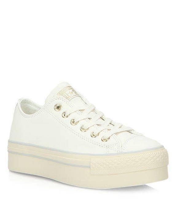 Platform Converse W US 8 Ivory Leather White Cream Wedding  557f07fbed01