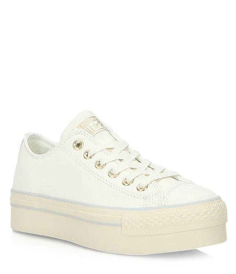 70b7c4838380 Platform Converse W US 8 Ivory Leather White Cream Wedding