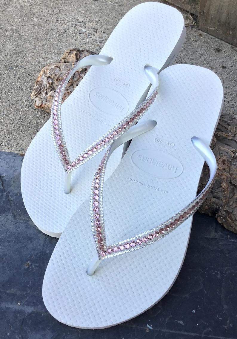 bcaa3a683073 White Wedding Flip Flop Havaianas Slim Custom Blush Pink