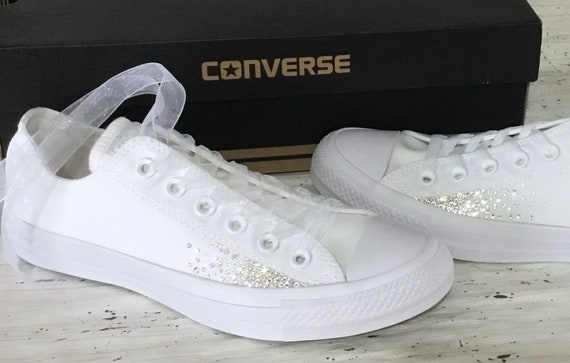 Sparkle Converse White Monochrome Canvas Low Chuck Taylor Sprinkle Glitter Bling Bride w/ Swarovski Crystal Rhinestone Wedding Sneakers Shoe
