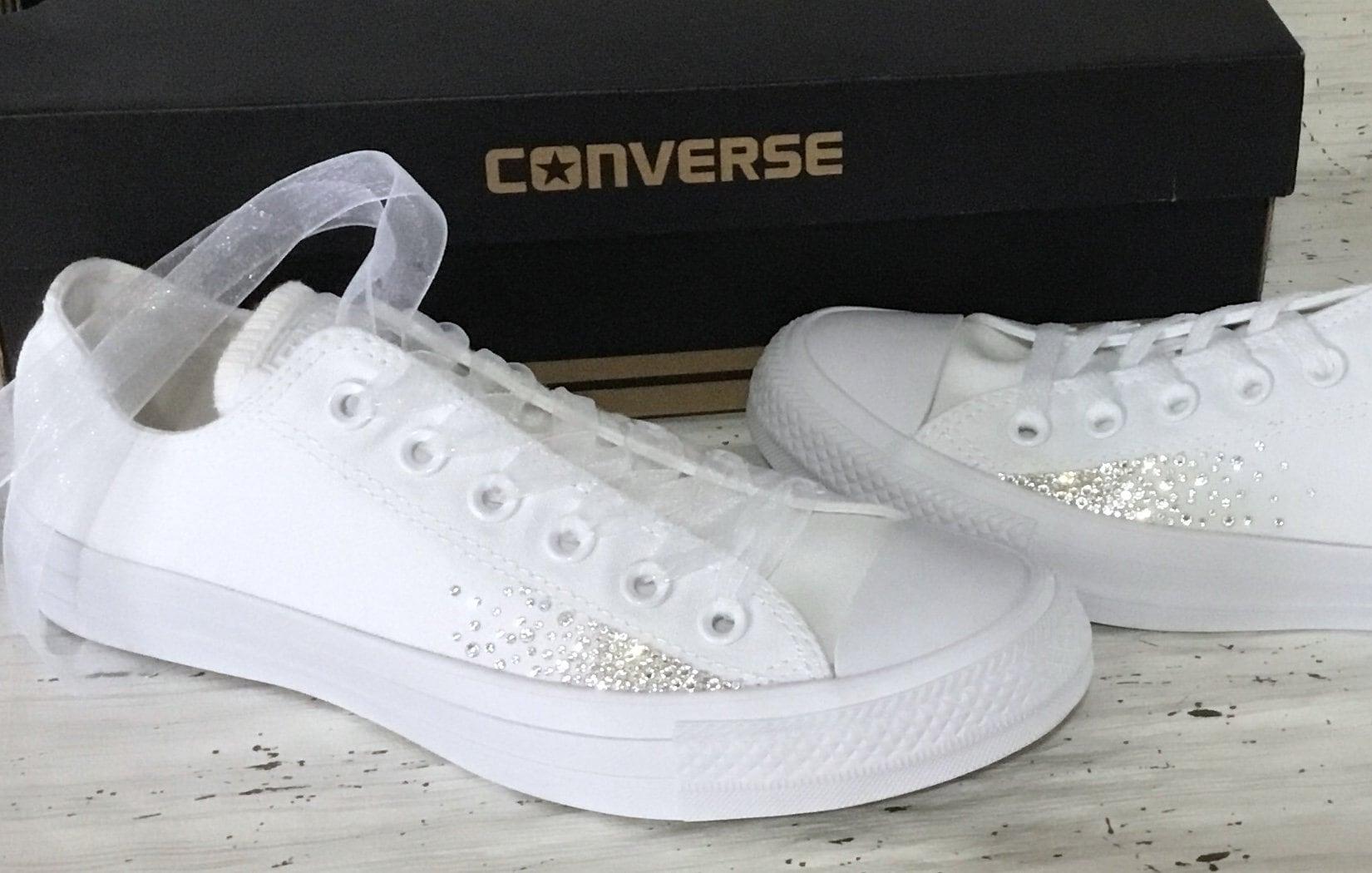 421752e3414f7 Sparkle Converse White Monochrome Canvas Low Chuck Taylor Sprinkle ...