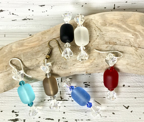 Hard Rock Candy Bon Bon Sea Glass Earrings Drop Dangle French Hook Earwire Silver Titanium w/ Swarovski Crystal Rainbow Jewel Ladies Gift