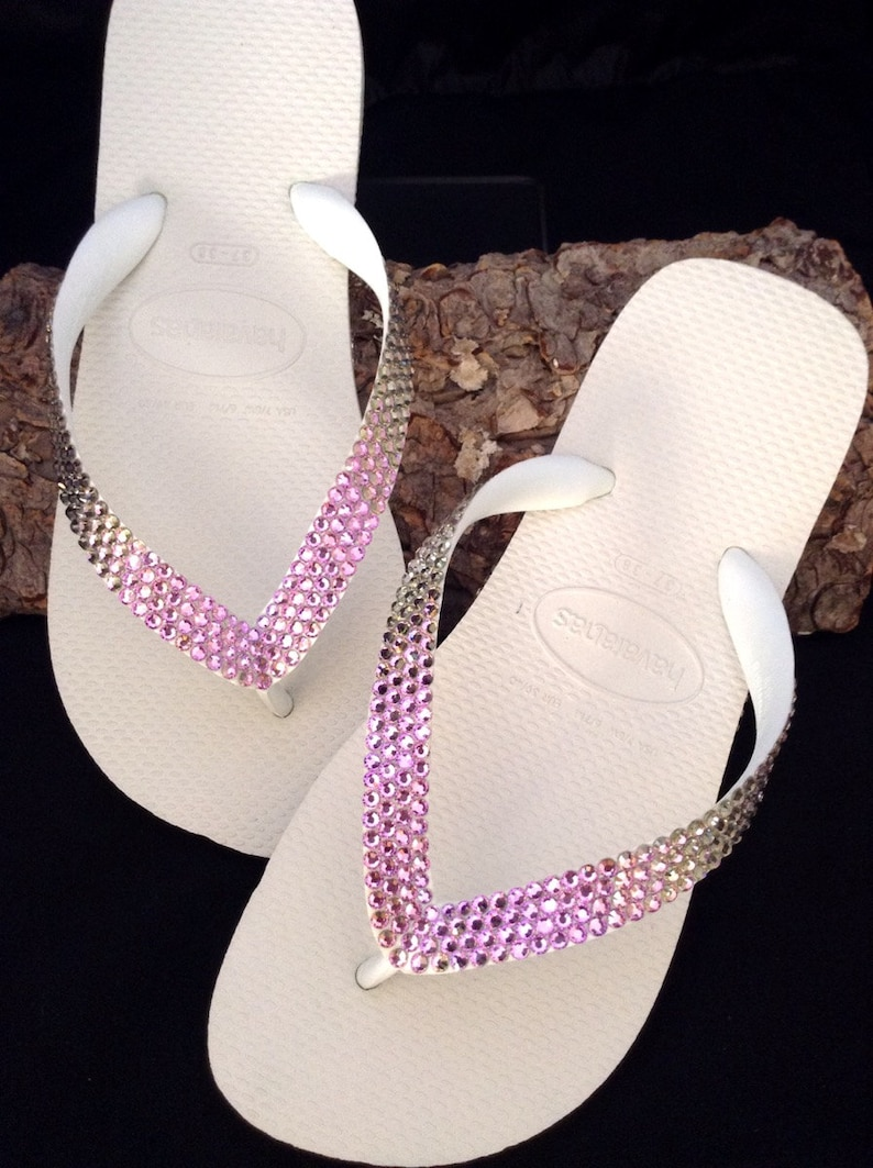 fd5ce3a3f717 Purple Crystal Flip Flops Havaianas flat or Wedge Heel Bride