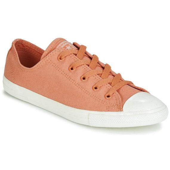Desert Coral Terra Cotta Orange Converse Dainty Canvas Bride Slip on w/ Swarovski Crystal Chuck Taylor All Star Bling Wedding Sneakers Shoes