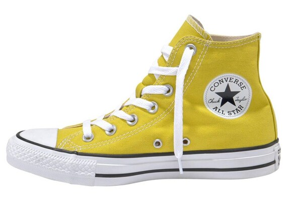 Yellow Converse High Top Chartreuse Bold Citron Canvas w/ Swarovski Crystal Rhinestone Chuck Taylor All Star Bridal Wedding Sneaker Shoe