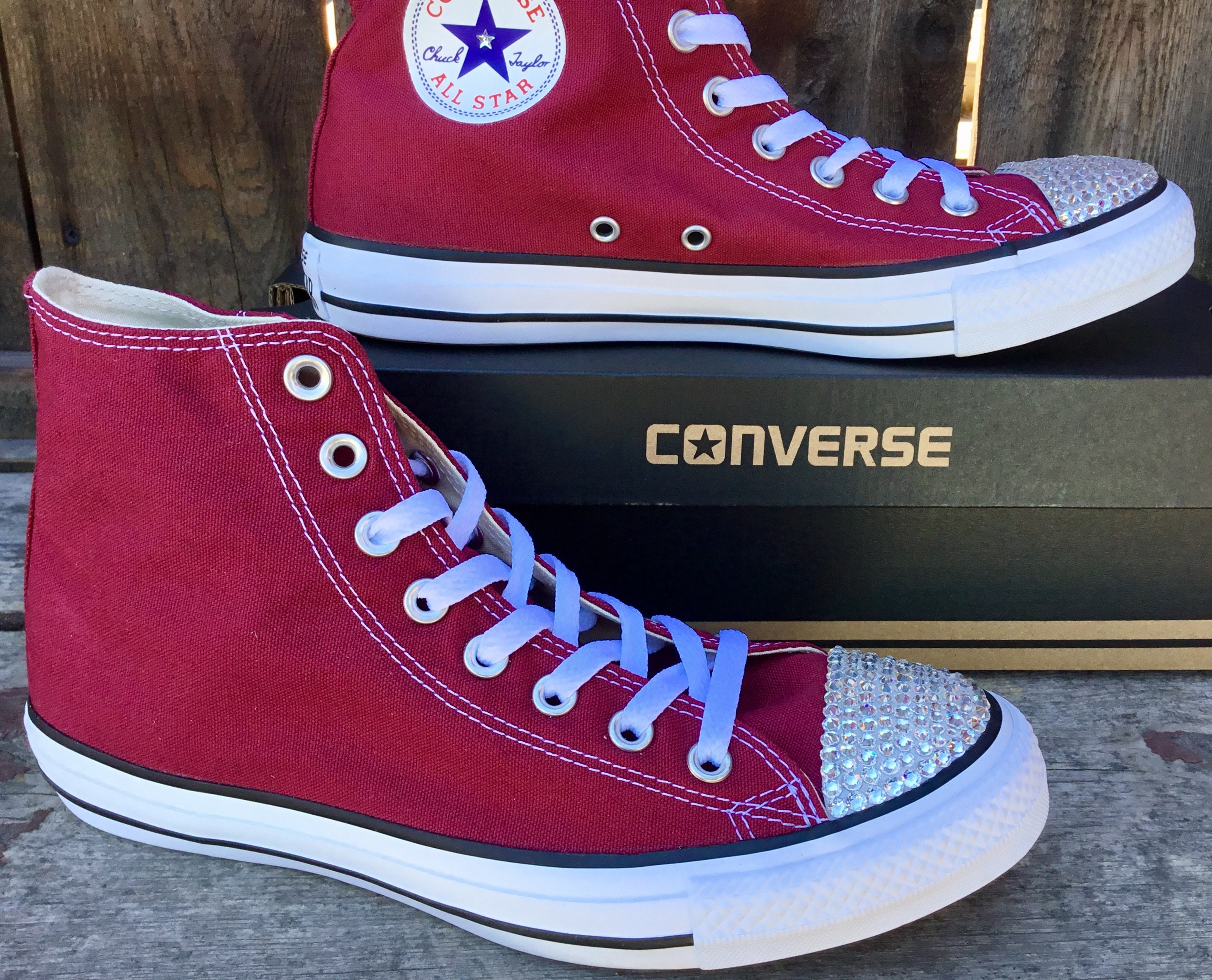 2cc7a161779f0b Burgundy Converse High Top Custom Mens Womens Glass Slippers w  Swarovski  Crystal Bling Maroon Wine Red Chuck Taylor All Star Sneakers Shoes