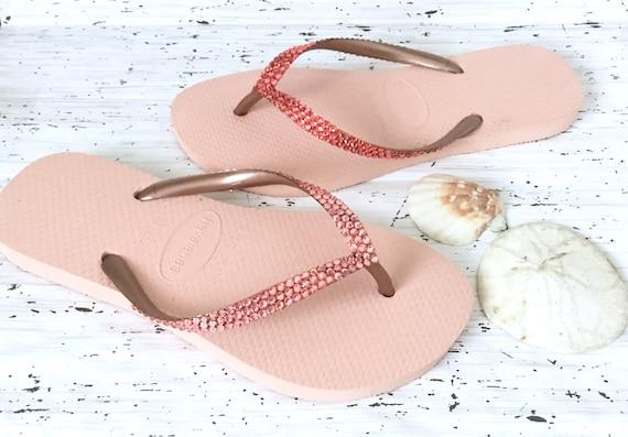 Coral Pink Crystal Flip Flops Havaianas Slim Rose Peach 2019 w/ Swarovski Rhinestone Wedding Bling Rhinestone Custom Bride Beach Sandal Shoe