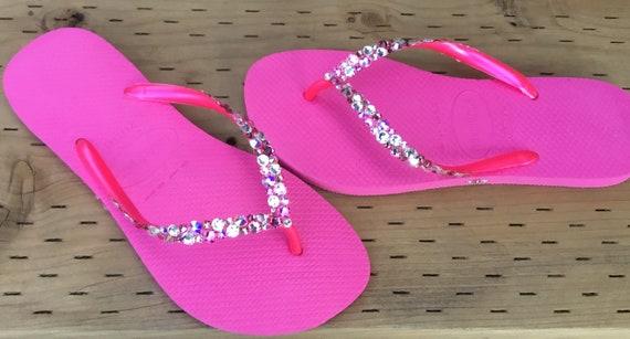 Shocking Pink Flip Flops Rose Clear Crystal Havaianas Slim w/ Swarovski Rhinestone Beach Glass Sea Wedding Sandals Bling Jewels Bridal shoes