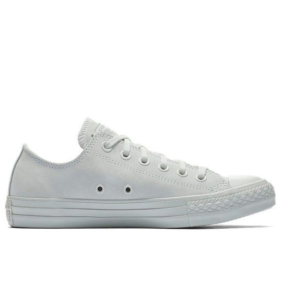 Silver Light Gray Converse Low Top Suede Mono Wedding Leather Chuck Taylor w/ Swarovski Crystal Bling Rhinestone Grey All Star Sneaker Shoes