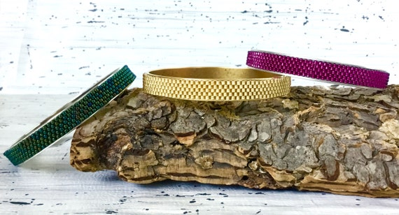 Channel Bracelet Bangle Cuff 2 3/4 Gold Antique Silver Copper Japanese Glass Bead Inlay Woven Fuchsia Green Bridal Wedding Jewelry Gifts