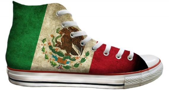 Viva Mexico Flag pride distressed Custom Print High Top Basketball Kicks Mens Ladies w/ Swarovski Crystal Rhinestone Chucks Sneakers Shoes