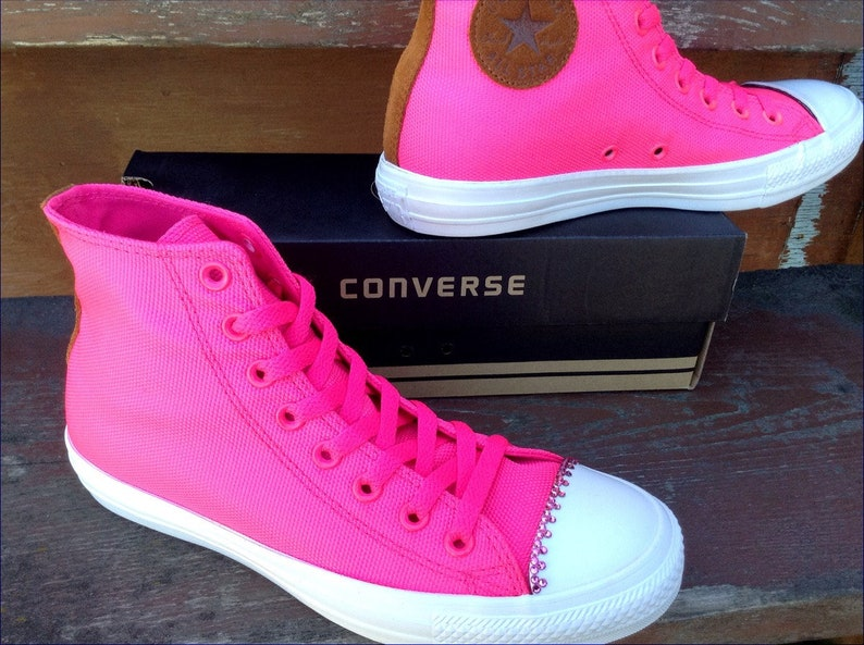 98915662913ef8 Hot Pink Converse High Top Rain Resistant Canvas Classic