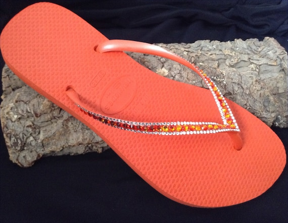 Orange Coral Flip Flops Havaianas Slim w/ Swarovski Crystal Bling Rhinestone Guava Tangerine Red Fire Jewel Custom Beach Shoes Glass Slipper