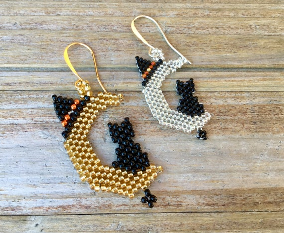 Halloween Black Cat on Crescent Moon Custom Fall Bead Earrings White Clear Gold Japanese Seed Beads Drop Dangle Trick or Treat Jewelry Gifts
