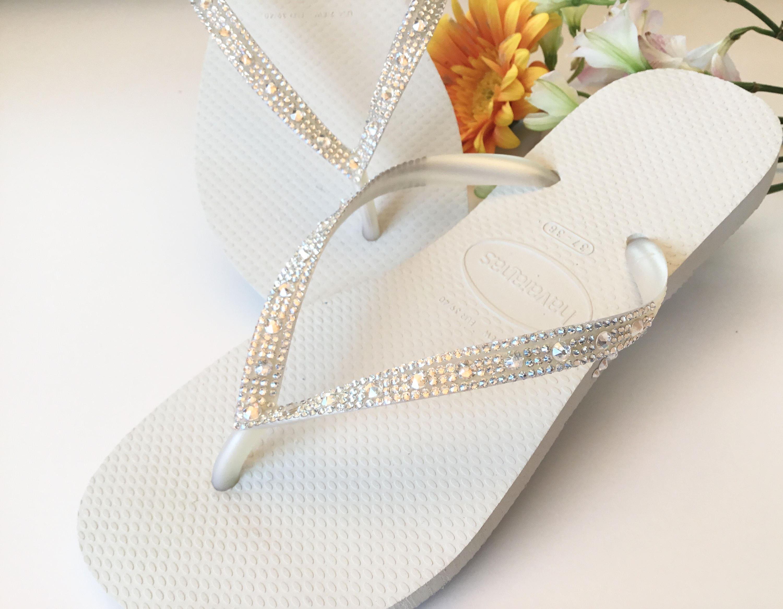 Custom Bridal Havaianas Flower Flip Flops Shoes