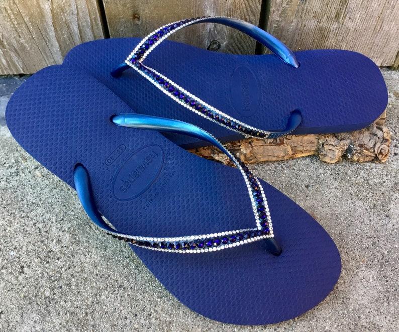 d3845c24efc8c4 Navy Blue Slim Flip Flops Havaianas Flats Indigo Ocean Sea w