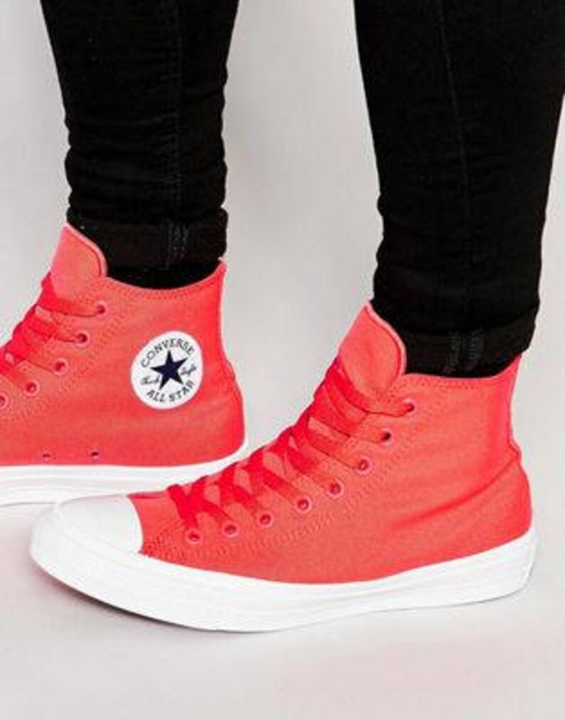 222666a5bd023 Red Converse High Top Chuck Taylor II Mono Fire Engine Red Coral Canvas  Custom Crystal Bling w/ Swarovski Rhinestone All Star Sneakers Shoes