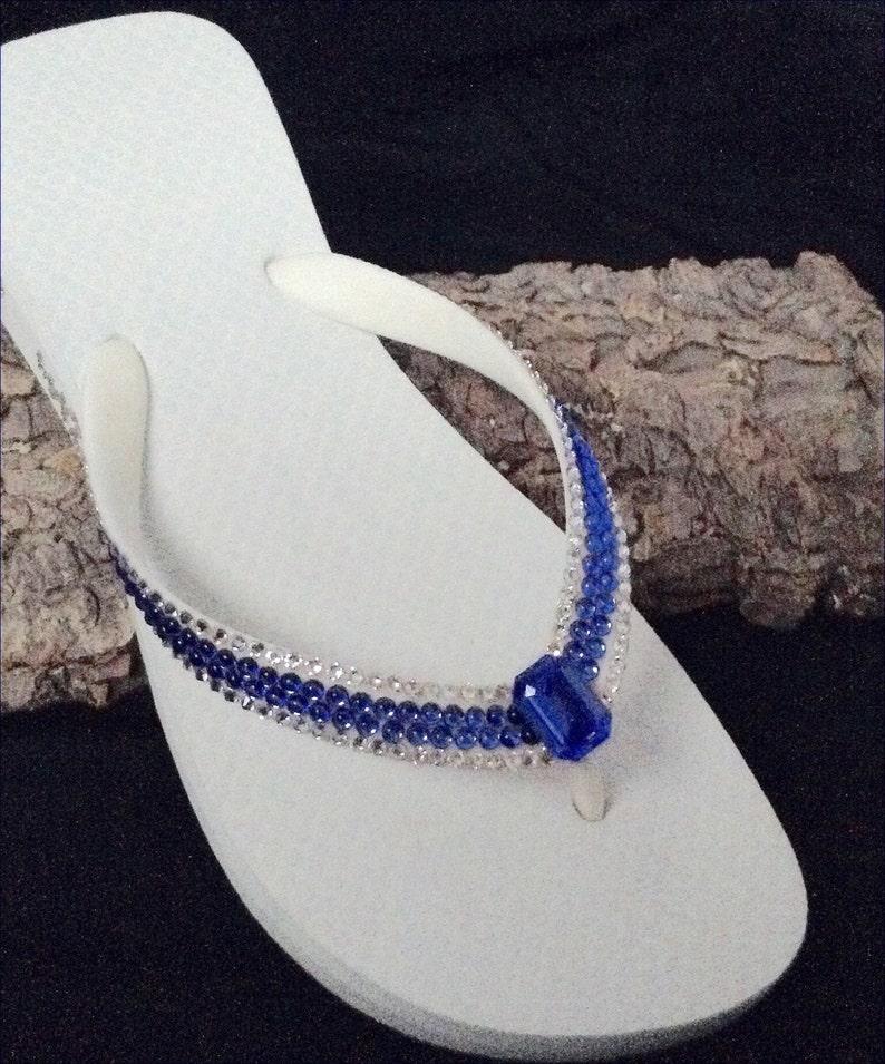 70ec9527dffd0 White Flip Flops Royal Blue Sapphire Custom Crystal Havaianas