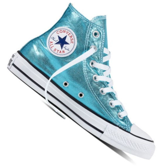 Blue Converse High Top Turquoise Teal Aqua Metallic Wedding Chuck Taylor Custom w/ Swarovski Crystal Rhinestone Bling All Star Sneakers Shoe