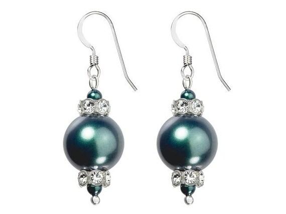 Teal Chandelier Pearl Earrings Swarovski Crystal Pearls Elegant Tahitian Blue Silver Drop Dangle Hooks Titanium Hypo Allergy Ladies Gift