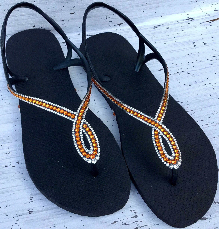 1bf3c9b215d4 Black Orange Tangerine Flip Flops Havaianas Slim Crystal LUNA ...