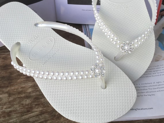 White Pearl Havaianas Slim Flip Flops Bridal Crystal Rose w/Swarovski Rhinestone Bling Bride Silver BridesMaid Beach Wedding shoes