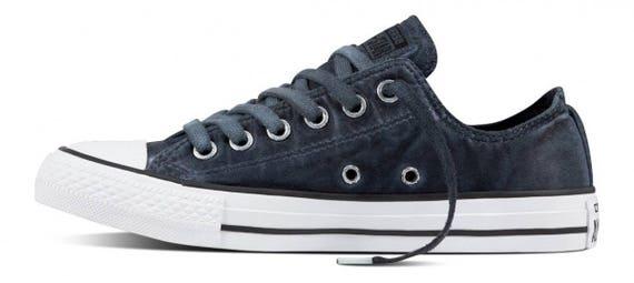 Black Satin Converse Low Wash Custom Kicks w/ Swarovski Crystal Rhinestones Grey Chuck Taylor All Star Mens Ladies Wedding Sneakers Shoes