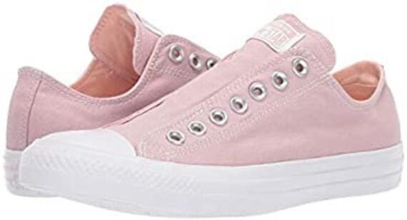 Plum Pink Slip on Converse Coral Blush Laceless Kicks w/ Swarovski Crystal Rhinestone Wedding Reception Chuck Taylor Bride Sneakers Shoes