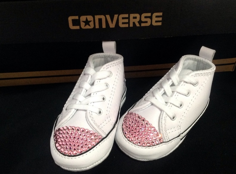 33d96d10f30e Converse Infant Baby Girl 1st Bling White Leather Chuck Taylor