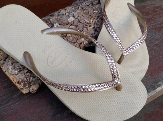 c50d3d665 Gold Havaianas Slim Crystal Flip Flops Silk Ivory Tan Khaki