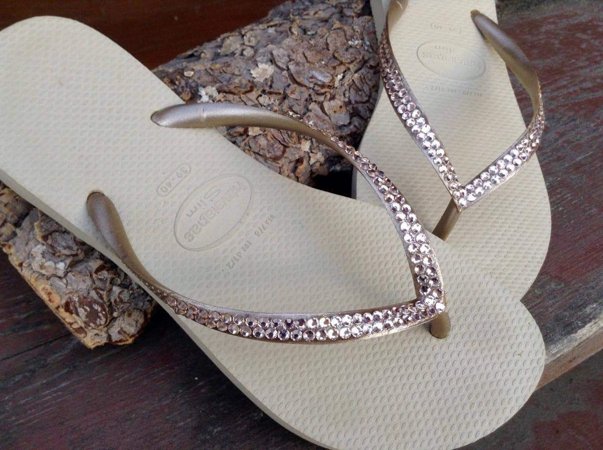 e0bc0ff0295d82 Gold Havaianas Slim Crystal Flip Flops Silk Ivory Tan Khaki Custom Bridal  Flats w  Swarovski Rhinestone Jewels Bride Slip on Wedding Shoes